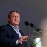 Danmarks statsminister og Venstres formand Lars Løkke Rasmussen (V) holder partiledertale på hovedscenen i Allinge på Bornholm fredag d. 15 juni 2018. (Foto: Olafur Steinar Gestsson/Scanpix 2018)