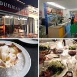 Ø.v.: Specialbutikken, Le Gourmetmand. Ø.h.: Købmanden, Mercato. N.v.: Frokoststedet, Havfruen. N.h.: Restauranten, Pastis. Foto: Sarah Skarum.
