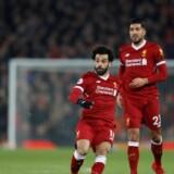 Mohamed Salah sparker 4-1-målet i kassen fra lang afstand i hjemmekampen mod Manchester City. Scanpix/Carl Recine
