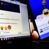 Skærmbilleder af de nye »reaktions«-muligheder på Facebook. #hvornårkommerdendislikeknap