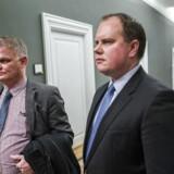 Kristian Thulesen Dahl, Martin Henriksen og Christian Langballe (DF) forlader Forhandlingerne i Statsministeriet torsdag d. 7. december 2017. (Foto:Martin Sylvest/Scanpix 2017)