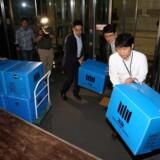 200 politibetjente tog i sidste uge fat på ransagningen af 17 kontorer i virksomheder tilhørende Lotte Group. Det er ikke officielt, hvad de leder efter, men lokale medier har flere teorier – blandt andet at selskabet ulovligt skulle have ført penge ud af landet. Foto: Lee Jin-wook/Yonhap/Reuters