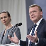 Statsminister Lars Løkke Rasmussen og undervisningsminister Merete Riisager, da de den 25. april 2017 præsenterede regeringens nye skolepulje, der skal løfte fagligt svage elever i folkeskolen.