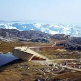 Nu er det sikkert og vist: I 2020 får Grønland et 100 mio. kr. dyrt oplevelsescenter, der forventes at blive en turistmagnet. ?Oplevelsescenteret er hovedsageligt finansieret af Realdania og tegnet af Dorte Mandrup Arkitekter. Illustration: Image By Mir