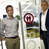 Obton , sol-matadorerne Anders Marcus (th) og Peter Krogsgaard (tv) udbyder tyske solprojekter til skatteplagede danskere.De har kontor på Toldkammeret i Aarhus.