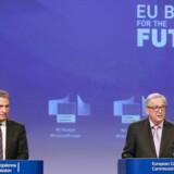 EUs budgetkommissær Günther Oettinger og kommissionsformand Jean-Claude Juncker fremlagde den 2. maj 2018 budgetforslaget på ni billioner kroner, hvor et mindre EU skal deles om de samme udgifter.