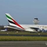 Emirates Airbus A380 landede tirsdag i Københavns Lufthavn i Kastrup.