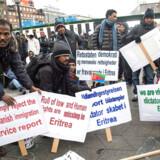 Demonstration på Rådhuspladsen fredag kl. 11. Arrangeret af eritreanere der er bosat på danske asylcentre. (Foto: Jens Nørgaard Larsen/Scanpix 2014)