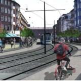 Forslag til byrum og letbane i strøggade uden biltrafi k, set fra Frederiksborgvej ind mod Nørrebro Station.