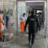 epa05161673 A handout picture provided by the Government of Monterrey shows police officers conducting a search in the Topo Chico Prison in Monterrey, Mexico, 14 February 2016, where the privileges of some organized crime leaders, who had saunas, mini fridges and digital televisions, were removed. EPA/GOVERNMENT OF MONTERREY HANDOUT EDITORIAL USE ONLY