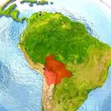 Bolivia, i Sydamerika, er markeret med rødt på billedet.