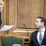 Inger Støjberg (V) og Marcus Knuth (DF) under folketingets åbningsdebat i folketingssalen på Christiansborg.