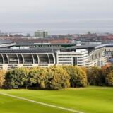 Parken Stadion og Fælledparken i forgrunden.
