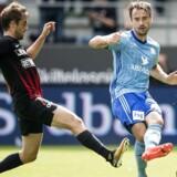 27.08.2017 ALKA Superliga FC Midtjylland - Lyngby BK. Jakob Poulsen (FC Midtjylland - 7) mod Oliver Lund (Lyngby - 48). (Foto: Claus Fisker/Scanpix 2017)