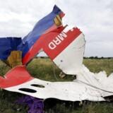 En vragrest på marken ud for Shaktarsk den 18. juli 2014.