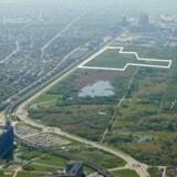 Den hvide markering viser, hvor der skal bygges på Amager Fælled. Foto: By & Havn