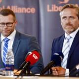 Liberal Alliances partileder Anders Samuelsen holder onsdag klokken 14 pressemøde på Christiansborg om regeringens 2025-plan. Til venstre Joachim B. Olsen (Foto: Ólafur Steinar Gestsson/Scanpix 2016)