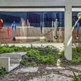 Den danske deltager, Kirstine Roepstorff, har åbnetpavillonen og fyldt den med grønne planter. Pressefoto