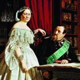 Frederik VII sammen med sin elskede Louise Rasmussen alias Grevinde Danner. Bortset fra Louise, så var arkæologien Kongens største passion. Maleri af G.V. Gertner. Illustration fra bogen.