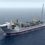 Sådan kommer det produktionsskib, Statoil skal have bygget til gigantiske Johan Castberg-felt i Barentshavet til at se ud. Statoil har skrevet kontrakt med Sembcorp Marine Rigs & Floaters i Singapore om at bygge fartøjet for 2,5 milliarder kr. Skibet skal løbende modtage og midlertidigt lagre olien fra de 30 brønde, der skal bygges på havbunden. Olien hentes løbende fra produktionsskibet af tankskibe, der transporterer olien til kunder rundt om i verden. Ilustration: Statoil.