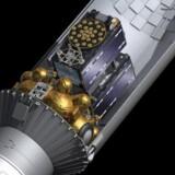 Et tværsnit af den russiske Soyuz-raket med de to første egentlige Galileo-satellitter om bord. Illusration: ESA–J. Huar