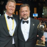 Fejring i Monaco. EY-partner Søren Smedegaard Hvid og vinderen af den danske del af konkurrencen, Michael Mortensen.