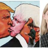 »Stay«-aktivister har i slutspurten frem mod den britisk EU-folkeafstemning droppet antydningens kunst og med et vægmaleri i byen Bristol parret en af de mest prominente »Leave«-sigere – den konservative tidligere London-borgmester borgmester Boris Johnson (th.) – med den amerikanske præsidentkandidat Donald Trump. Foto: Geoff Caddick/AFP
