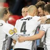 Nicklas Bendtner fejrer en scoring for Rosenborg med (f.v.) Jørgen Skjelvik, Vegar Eggen Hedenstad, Tore Reginiussen og Pål André Helland.