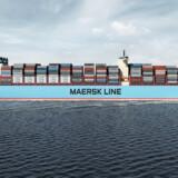 Sådan kommer det til at se ud, når Mærsks Tripple-E skibe tørner fuldt lastede ud på verdenshavene.