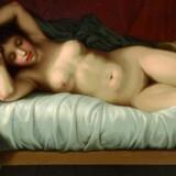Liggende model på en seng, 1810-13. Privateje