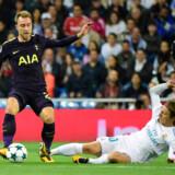 Christian Eriksen og Tottenham fik 1-1 ude mod Real Madrid i Champions League. De to klubber mødes i næste runde på Wembley. Scanpix/Pierre-philippe Marcou