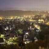 Villakvarter i Ballerup ejendomme, Aften, nat, belysning, ejendomsvurderinger