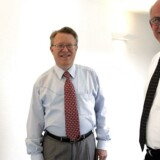 Adm. direktør Jan Tøpholm og salgsdirektør Tom Westermann, Widex.