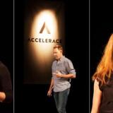 Accelerace Investor Day, hvor investorer møder iværksættere. Fra venstre: Christian Lund fra Templafy, Thomas Sugar fra Pinstriped og Rikke Biehl fra Delogue.
