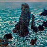 """Mange af impressionisternes populære malerier indgår i udstillingen om fransk kunst gennem halvandet hundrede år. Her det det Claude Monets """"Les Pyramides de Port-Coton, Belle-ile-en Mer. Pressefoto"""