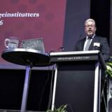 Der var torsdag årsmøde i Lokale Pengeinstitutter i Aalborg Kongres og Kulturcenter. Her ses formanden , direktør Claus E. Petersen, Den Jyske Sparekasse, på talerstolen. (Foto: Henning Bagger/Scanpix 2016)