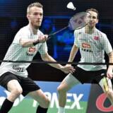ARKIVFOTO 2016 af DM Badminton i Aarhus Stadionhal, her finalen i Herre Double mellem Carsten Mogensen og Mathias Boe
