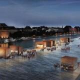 Arkitektfirmaet Lundgaard & Tranbergs visualisering af den nye Ofelia Plads ved Kvæsthusbroen. På molen skal der foregå alt fra poetryslam over børne-events til koncerter og ballet. Foto: PR