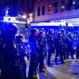 10-årsdagen for nedrivningen af Ungdomshuset på Jagtvej 69, blev onsdag d. 1. marts 2017 markeret med en stor demonstration igennem Københavns gader. Her politiet på Jagtvej.. (Foto: Bax Lindhardt/Scanpix 2017)