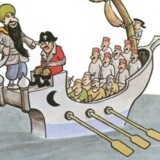Illustrationerne i Jan Lööfs »Min forfar er sørøver« fra 1966 passer ifølge forlaget Bonnier Carlsen ikke til nutidens normer og følelser, og det samme gør sig gældende for hans tegninger af sorte musikere i børnebogen »Fang Fabian.« Tegning: Jan Lööf