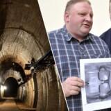 Det er tyskeren Andreas Richter (th) og polakken Piotr Koper (tv) der påstår, at de har lokaliseret det sagnsomspundne tog. Her ses de med det såkaldte georadarbillede, som påstås at være ag toget.