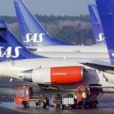 SAS opnåede i marts en stigning i passagertrafikken målt på antal fløjne passagerkilometer (RPK) på 4 pct. i forhold til samme måned i 2015. EPA/JOHAN NILSSON SWEDEN OUT