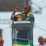 »Vi bliver nødt til at genoprette ANC's integritet og troværdighed,« siger Cyril Ramaphosa på et vælgermøde for Sydafrikas regerende parti, ANC, i byen East London i anledning af partiets 106 års fødselsdag. Scanpix/Mujahid Safodien
