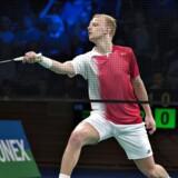 ARKIVFOTO: DM Badminton i Aarhus Stadionhal, her finalen i Herresingle mellem Emil Holst og Rasmus Fladberg. Emil Holst under kampen.