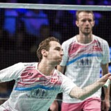 Herredoublen Carsten Mogensen og Mathias Boe vandt den første kamp i sæsonfinalen i badminton.