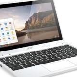 Den nye Chromebook fra Acer har trykfølsom skærm og bruger Googles styresystem ChromeOS, hvor tanken er, at programmer og data alle ligger gemt på centrale servere. Foto: Acer
