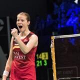 Christinna Pedersen spillede sig sammen med makkeren Mathias Christiansen i finalen i Hongkong. Scanpix/Claus Fisker