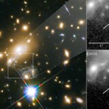 Galakserne i firkanten til venstre får rummet til at bøje og virke som et gigantisk forstørrelsesglas. På den måde var det muligt at få øje på stjernen Icarus hele ni milliarder lysår borte. Optagelsen øverst til højre er fra 2011, og her er stjernen usynlig, men i 2016 (nederst til højre) trådte den pludselig tydeligt frem. Det naturlige mikroskop forstørrede en lille del af rummet hele 2.000 gange.