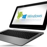 Chipproducenten Intel har på CES-messen i Las Vegas annonceret computere, der kan skifte mellem Android og Windows med et tryk på en knap. Foto: Asus