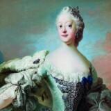 Pilos maleri af dronning Louise. Hun var datter af Georg II af Storbritannien og blev i 1743 gift med kronprins Frederik af Danmark-Norge, den senere Frederik 5. Hun var mor til Christian VII.